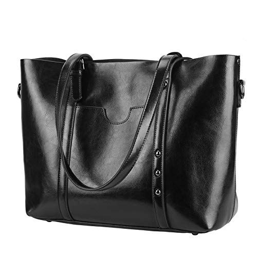 """&#10148Cow split leather with gunmetal hardware, sturdy double stitching and reinforced handle for durability. &#10148Zipper top closure. This bag can hold 13"""" thin laptop whose size under 12.99""""(length) x 9.1""""(width), wallets, books and lots of thin..."""