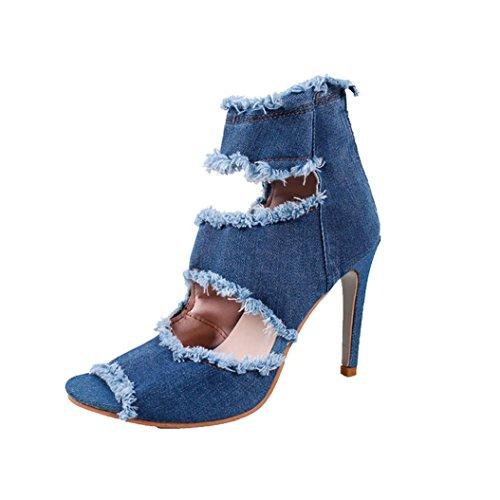 Zapatos de tacón Altas Aguja para Mujer Verano 2018 PAOLIAN Moda Zapatos de Boca de Pescado Mezclilla Fiesta Open Toe Sandalias de Vestir Casual Hueco Zapatos
