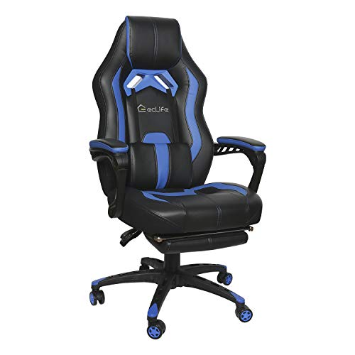 Gaming Chair Reclining Computer Chair Office Chair High Back Leather Desk Chair Racing Executive Ergonomic Adjustable Swivel Task Chair with Headrest and Lumbar Support Blue