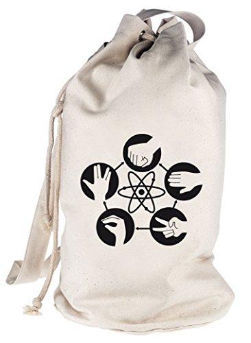 Shirtstreet24, Atom - Stein Schere Papier, bedruckter Seesack Umhängetasche Schultertasche Beutel Bag, Größe: onesize,natur