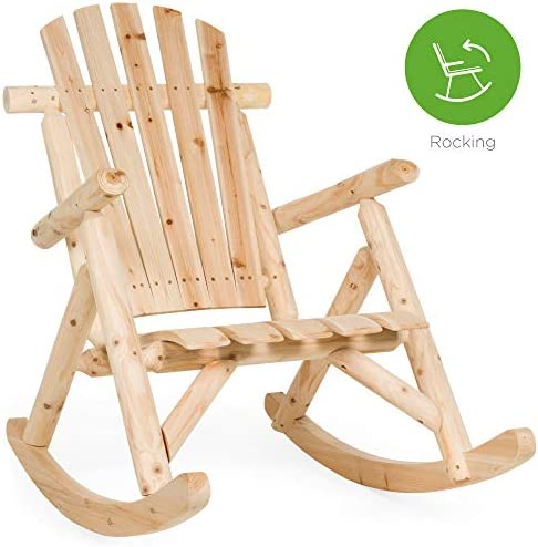 Best Best Choice Products Rocking Wood Adirondack Chair Accent Furniture for Yard, Patio, Garden w/Natura