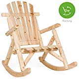 Best Choice Products Rocking Wood Adirondack Chair Accent Furniture for Yard, Patio, Garden w/Natural Finish