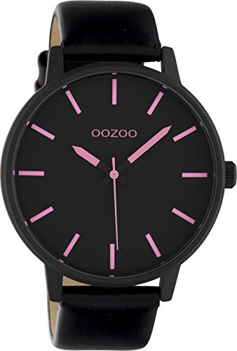 Oozoo Damenuhr mit Lederband 45 MM Schwarz/Pink C10383