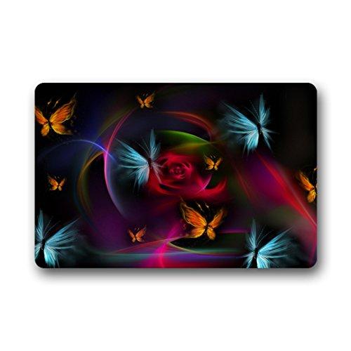 Doubee Premium Tapis Design et Papillons Multicolores Pied générique Tapis Anti-Poussière Maison passwort 46 cm x 76 cm, Tissu, E, 18\