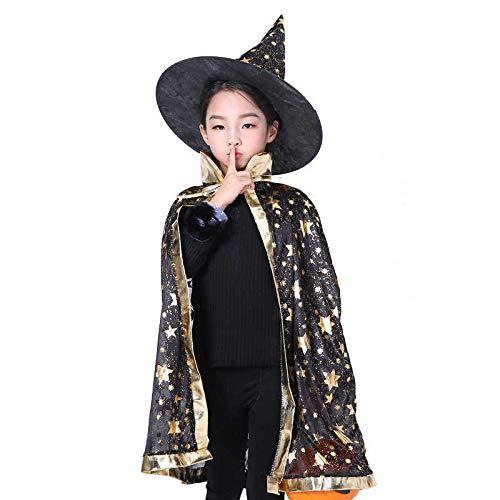 Halloween Zauberer Kostüm,Zauberer Umhang mit Hut Magie Halloween Kostüme für Kinder Junge Mädchen Kostüm Cosplay Festivel Party Star Style Schwarz