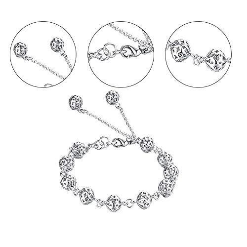 Demarkt armband met doorgebroken bolletjes, zilveren zirkonia, geschikt voor meisjes/vrouwen, maat 19 cm