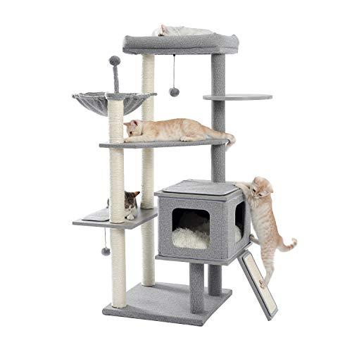 [Amazonブランド] Umi(ウミ) - キャットタワー 据え置き型 猫タワー 広いベッド ハンモック 天然サイザル麻紐 爪とぎたくさん 安定性抜群 大型猫 多頭飼い - 高さ129cm グレー