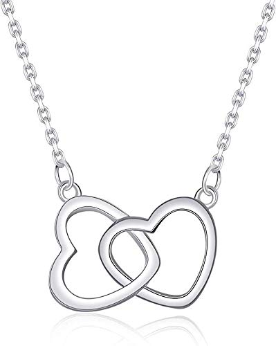BONIU 925 Kreative Halskette, Sterling Silber vergoldet, Muttertagsgeschenk, Mein Schicksal, Herz-zu-Herz-Anhänger, Roségold, Damenschmuck, Geschenkverpackung (Silber)