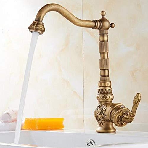 Hot & Cold Faucet total latón acabado en bronce grifo de cocina tallado grifo mezclador giratorio de cocina, grifo de fregadero