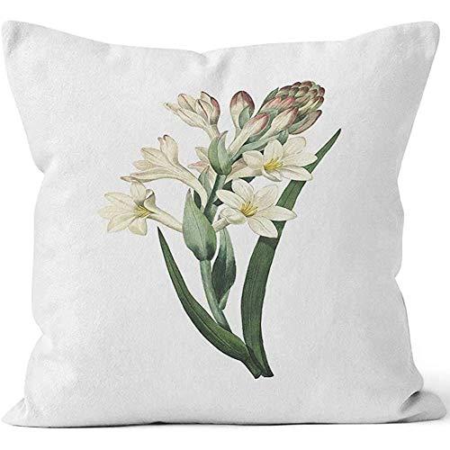 jonycm Cojines de sofá Tuberose Redoute Flower s Home Funda de Almohada Decorativa Funda de Almohada Cuadrada