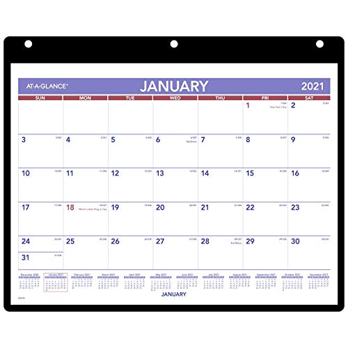 """2021 Wall & Desk Calendar by AT-A-GLANCE, 11"""" x 8"""", Small, with Clear Cover and Vinyl Holder (SK80021)"""