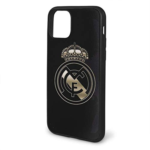 Chocs Real Madrid Escudo Compatible con iPhone 12/12 Pro MAX 12 Mini 11 Pro MAX SE 2020 X/XS MAX XR 8/7 6/6s Plus Fundas de teléfono de protección Negra