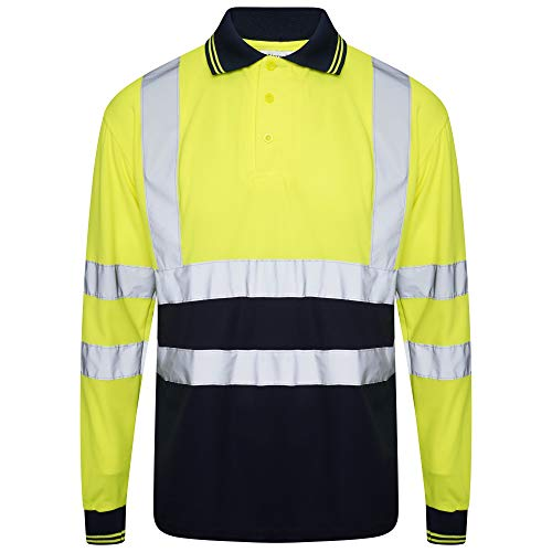 INDX-Clothing - Polo de alta visibilidad para trabajo de seguridad transpirable en dos tonos con cinta reflectante ligera y reflectante