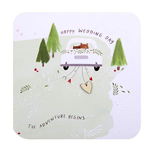 Tarjeta de felicitación de boda de Hallmark – Diseño contemporáneo cuadrado con detalles en relieve y accesorio de corazón de madera