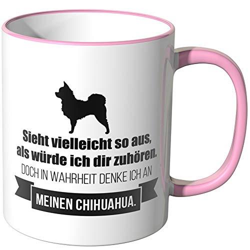 JUNIWORDS Tasse - Ich denke an Chihuahua - Wähle Motiv & Farbe - Rosa