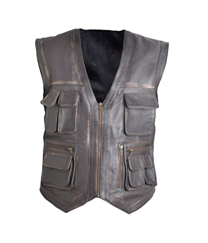 HLS Jurrasic Park Vest Cowhide Leather Vest (2XL) Brown