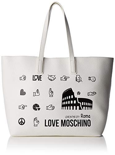 Love Moschino Pu, Borsa Tote Donna, Bianco (Bianco), 15x10x15 cm (W x H x L)