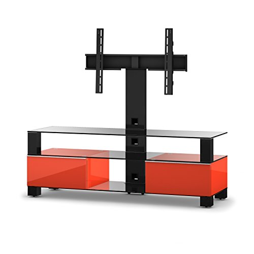 Sonorous MD 8143-C hblk-Meubles Red Téléviseur avec Verre Transparent (Aluminium Brillant, Corps Brillant Décor) Rouge/Noir