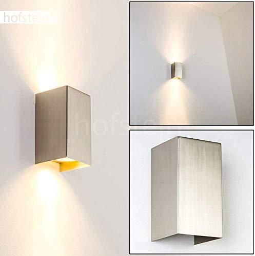Wandlamp Tabera in geborsteld staal, moderne wandlamp van metaal met lichteffect, 2 x GU10 fitting, max. 50 Watt, binnenwerklamp met op en neergaande werking, geschikt voor LED-lampen