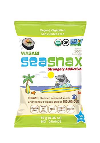 SeaSnax Organic Roasted Seaweed Snack Wasabi, 0.36 Ounce (Pack of 12)