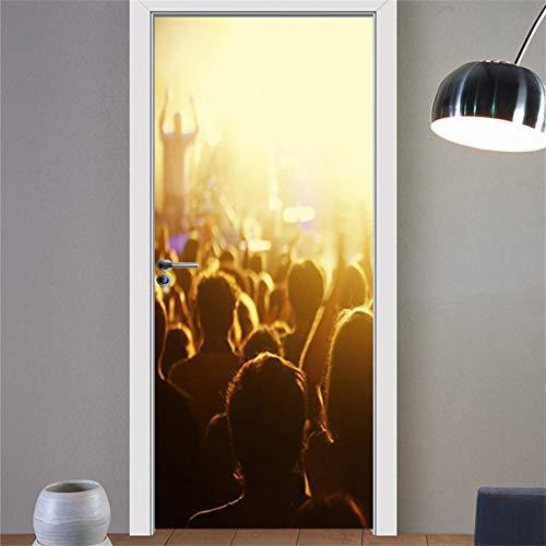 Pegatinas de Puerta Elegantes Blancas 3D para Paredes, Dormitorio, Personalidad, Mural Autoadhesivo, calcomanías para el hogar DIY A9 77x200cm