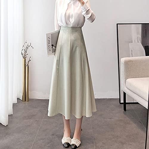Secuos Falda Mujer Falda Larga De Cintura Alta De Verano Elegante para Mujer, Falda De Satén Vintage Elegante...