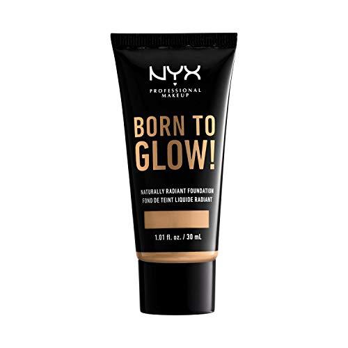 NYX Professional Makeup Fondotinta Illuminante Effetto Naturale Born To Glow, Coprenza media modulabile, Tonalità : True Beige