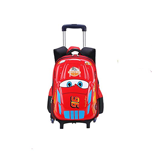 PIJN Childrens/Kids Luggage Children's Trolley Schoolbag Students Climbing Stairs 6 Wheels Car Style Backpack Boys Wheeled Travel Bag Waterproof Easy Cleaning Suitcase With Backpack