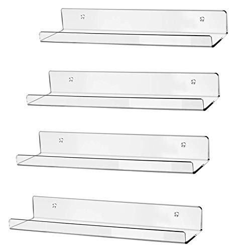 hblife 15' Clear Acrylic Floating Wall Ledge Shelf, Wall Mounted Nursery Kids Bookshelf, Invisible Spice Rack, Clear 5MM Thick Bathroom Storage Shelves Display Organizer, 15' L x 4' D x 2' H, Set of 4