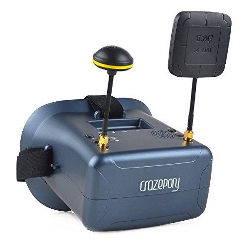 FPV Brille VR008 Pro 2 FPV Headset Brille mit DVR 4,3 Zoll 5,8G 40CH Diversity Batterie Doppelantenne Empfang und Tragetasche für RC Quadcopter
