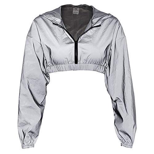 Eghunooye Frauen Sommer Casual Sport Bekleidung Reflektierende 2 Stück Sportjacke Reißverschluss Langarm Crop Top Jacke Mantel und Sport Bodycon Rock Hosen (Jacke, S)