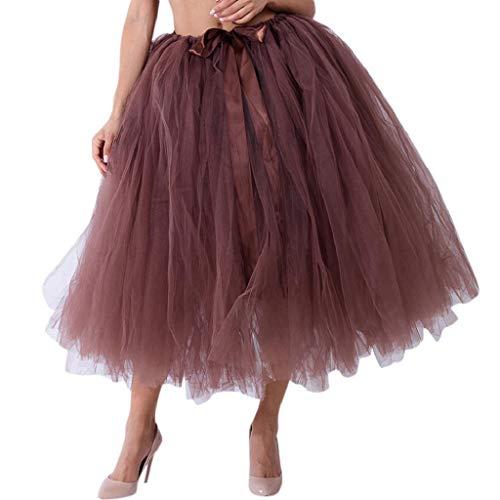 Falda de Tutu Mujer,SHOBDW Malla de Tul En Capas de Dama de Honor Mullido Regalo de La Fiesta de Bodas Traje de Baile de Princesa Falda Burbuja de Maternidad Falda(Café-2)