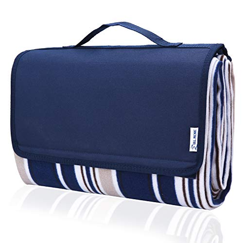 Picnic Blanket, 80'x60' Waterproof Camping Portable mat - with Picnic Recipes XL Large Blue (Portable) - Amazon Vine