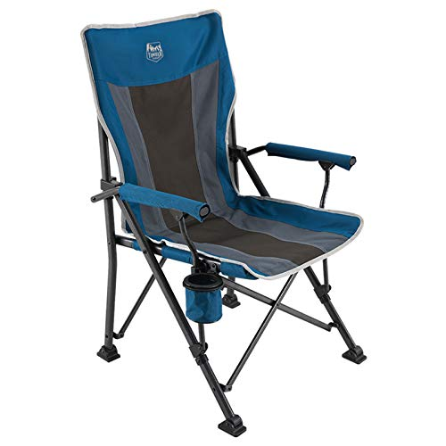 TIMBER RIDGE High Back Folding Camping Chair with Padded Hard Armrest and Cup Holder-for Outdoor, Camp, Fishing, Hiking, Lawn, Including Carry Bag (Blue)