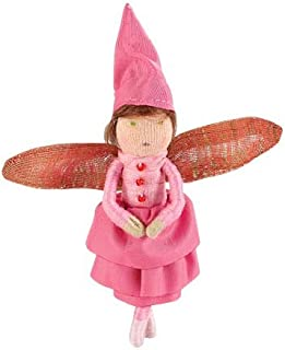 Blooming Mini Fairy Posable Doll with Iridescent Wings, Rose in Pink