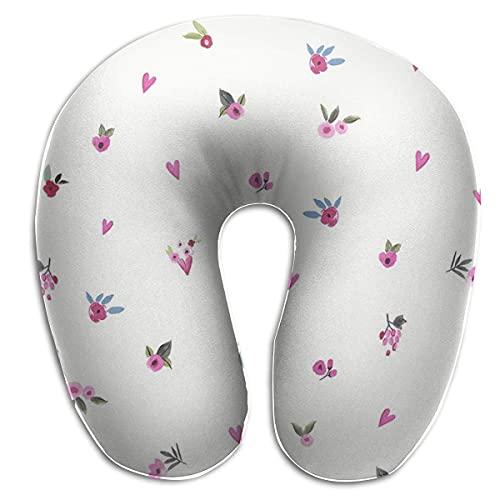 Almohada en Forma de U Cuello Corazón Patrón Viaje Almohada Multifuncional Coche Avión