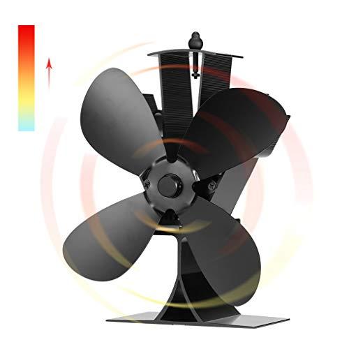 JNTM Herd Fan Energiesparventilator 4 Blades Hitze Powered Log Holzofen Ruhig Schwarz Home Kamin Effiziente Wärmeverteilung