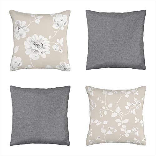 Koen Home Pack 4 Cojines compuestos de algodón Decorativos y Modernos para salón, Dormitorio, sofá - 4 Unidades 45x45 cm - Estampado Flores - con Relleno Incluido de Almohada - Tono Gris