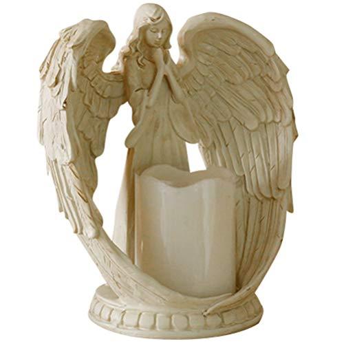 GARNECK Statuetta di Angelo Portacandele Candela Senza Fiamma a LED Angelo Custode Ali Scultura Statua Simpatia Regalo per Matrimonio a Casa Natale Senza Batteria