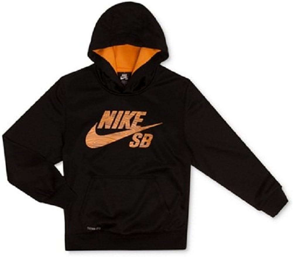 Nike Action Boys' Wood-Grain Logo Therma-FIT Hoodie Small Black