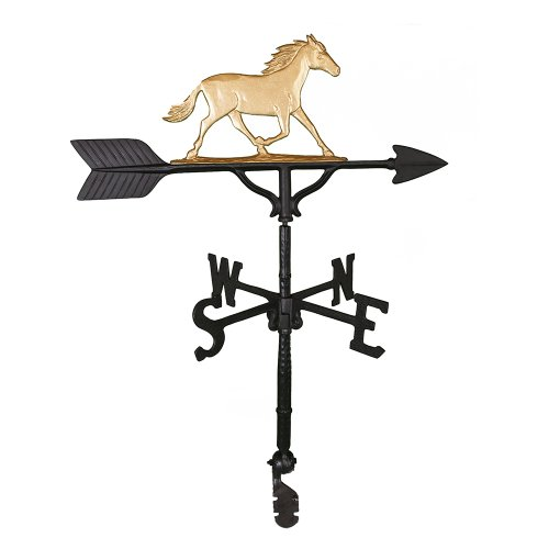 Montague Metal Products Wetterfahne mit goldenem Pferd, 81 cm