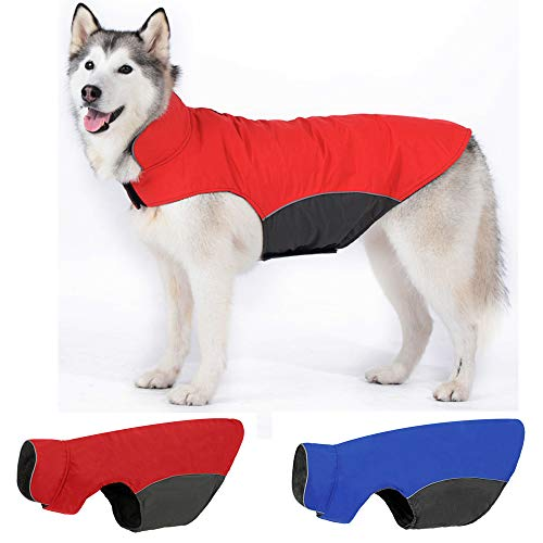 Leepets Waterproof Dog Jacket Fleece Lined Dog Coat for Winter Warm Reflective Adjustable Cold Weather Snow Rain Vest Apparel Clothes for Dog, Red, Large