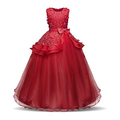 NNJXD Mädchen Ärmellos Stickerei Prinzessin Festzug Kleider Abschlussball Ballkleid Größe(140) 8-9 Jahre 354 Rot-A