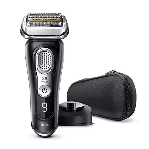 Braun Series 9 9340s - Afeitadora Eléctrica Hombre Última Generación, Afeitadora Barba Recargable, Inalámbrica, Base de Carga, Funda, Seco/Mojado, Negro