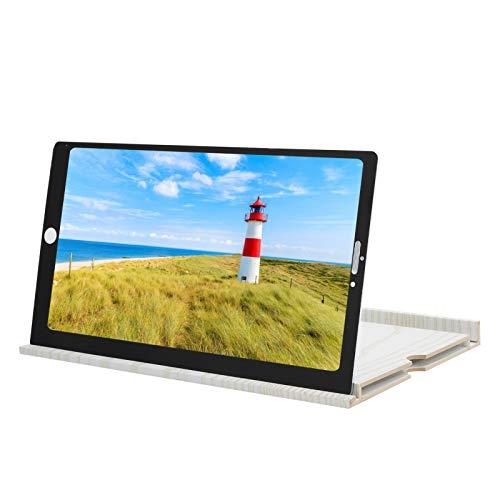 Telefonbildschirmverstärker 12-Zoll-Ständer für Filme, Videos und Spiele - Faltbarer Telefonständer mit Bildschirmverstärker(Weiß)