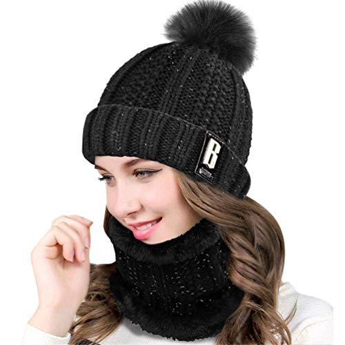 heekpek Pack Bonnet Et Écharpe Femme, écharpe pour femmes cercle et ensemble bonnet au crochet, bonnet thermique, ensembles de bonnet de sports de plein air Accessoires d'hiver (Noir)