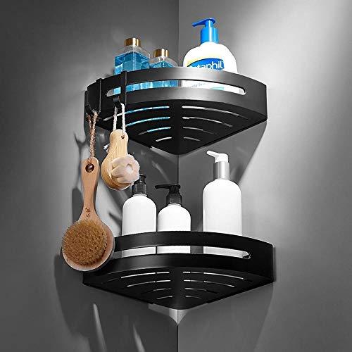 Room Aluminium badkamer planken zwart bad-accessoires douche hoek rek shampoo magazijnrek bad mand houder Double Layer