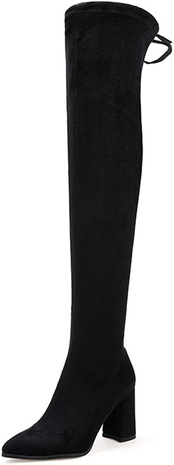 Women Square Heel Over The Knee Boots Fashion Zipper Pointed Toe Fall Winter Stretch shoes Black Apricot