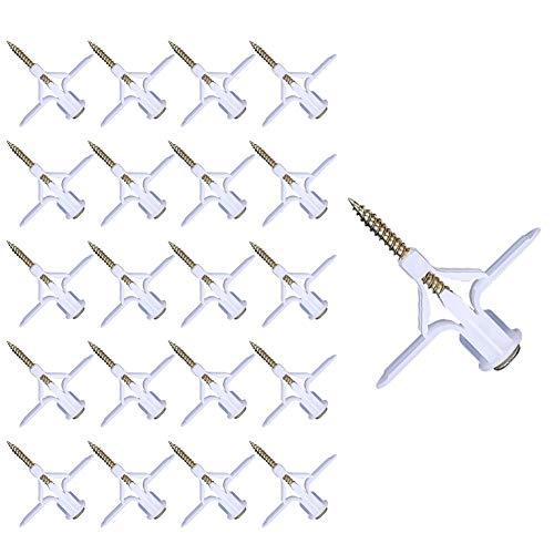 Vegena 60 Stück Gipskartondübel Hohlraumdübel, Selbstbohrender Gipskartondübe,Trockenbau anker mit Edelstahlschrauben Sets für Vorhang Gipskartonplatte Hohlwand