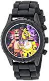 Five Nights at Freddy's Men's Stainless Steel Analog-Quartz Watch with Silicone Strap, Black, 21 (Model: FNF9004)
